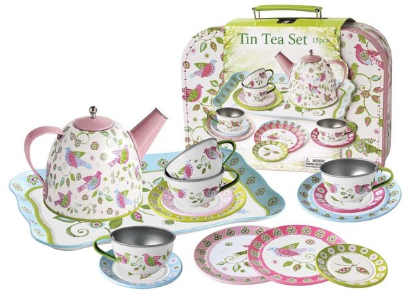 Bird Tin Tea Set Suitcase