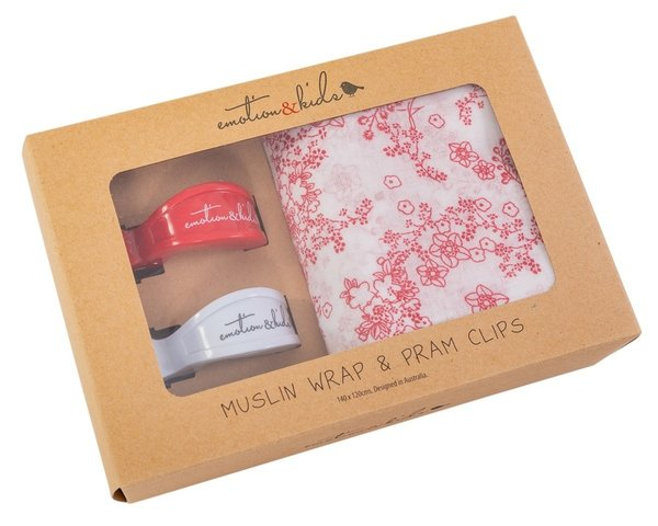 Japanese Blossom Muslin With Red White Clips