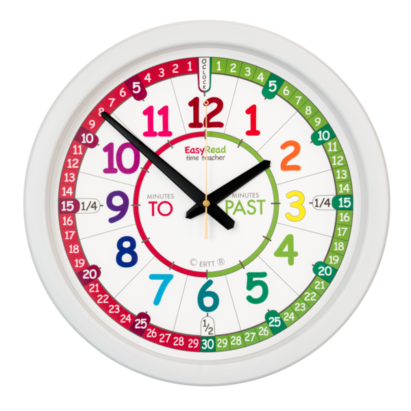 Easy Read Rainbow Classroom 29cm Wall Clocks Past/To